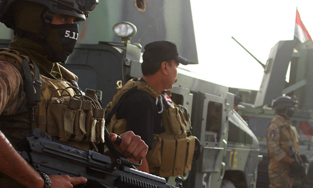 The Central Bank of Iraq surrounded by a large security force