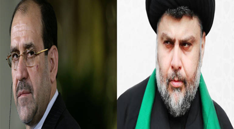 The conflict raging between Maliki and Sadr to win the Kurds in the alliance of the largest bloc